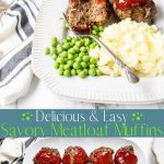 Meatloaf Muffin Cups on a plate with pinterest text overlay