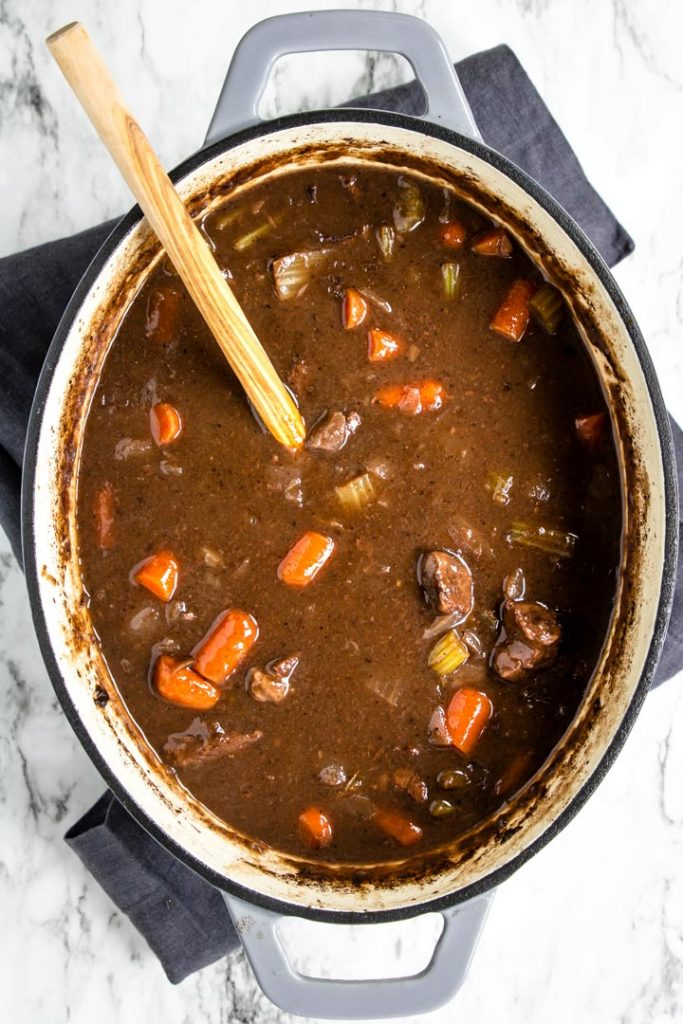 Beef Stew with Red Wine in a dutch oven