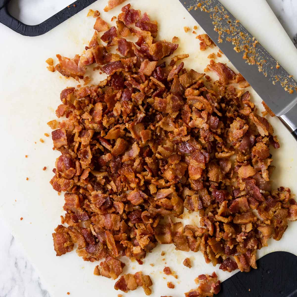 Cooked bacon chopped into bite sized pieces