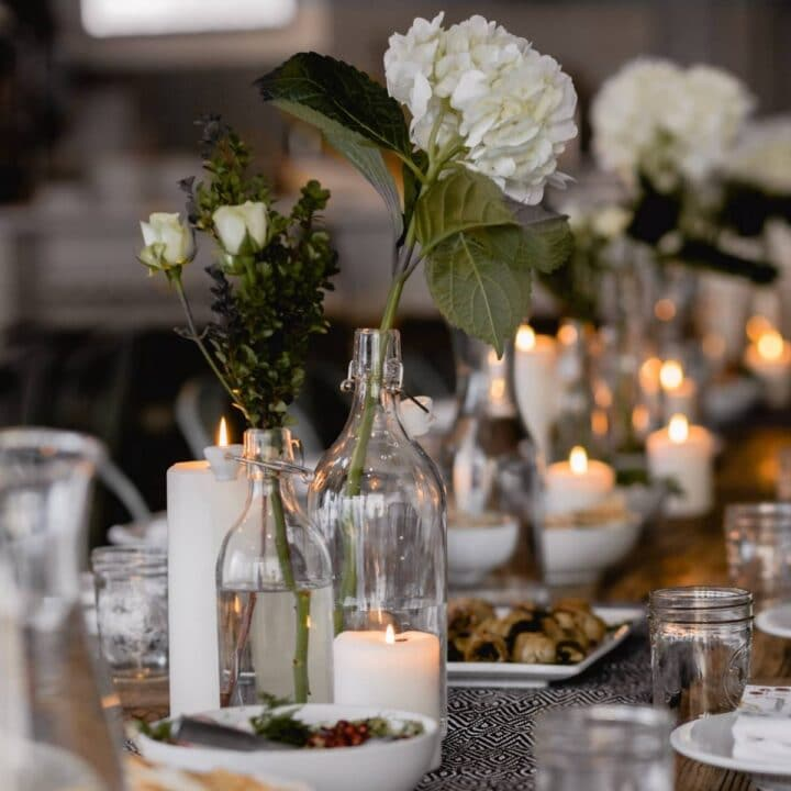 Easter Dinner Table with white flowers and candles