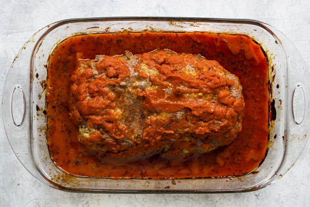 Cooked italian meatloaf that hasn't been covered in cheese yet