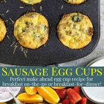 Breakfast egg cups in a muffin tin - pinterest text overlay