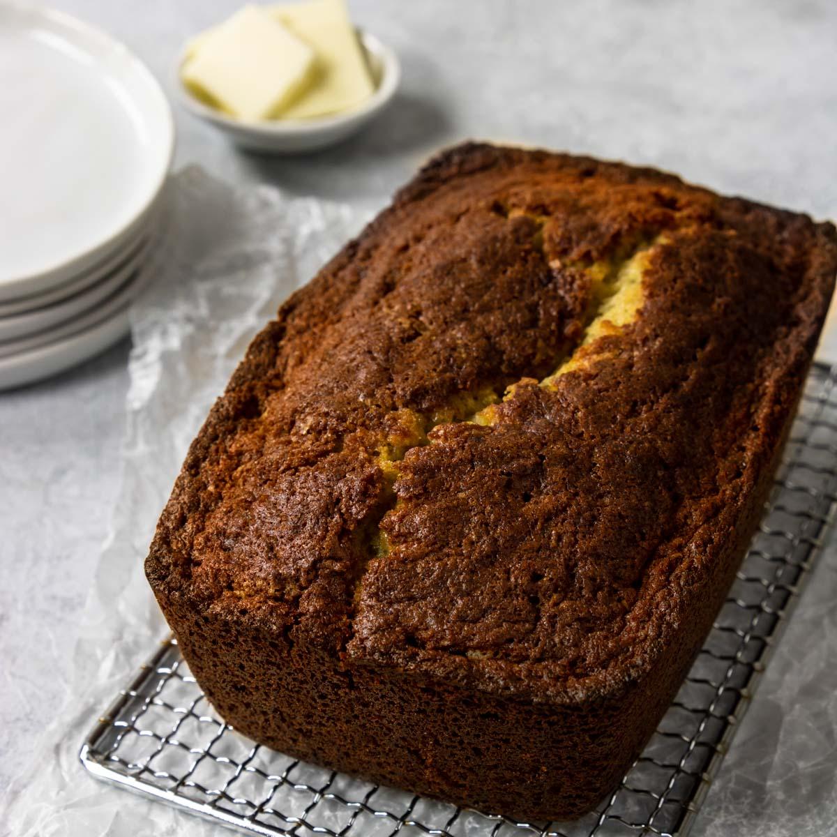 loaf of banana bread cooling