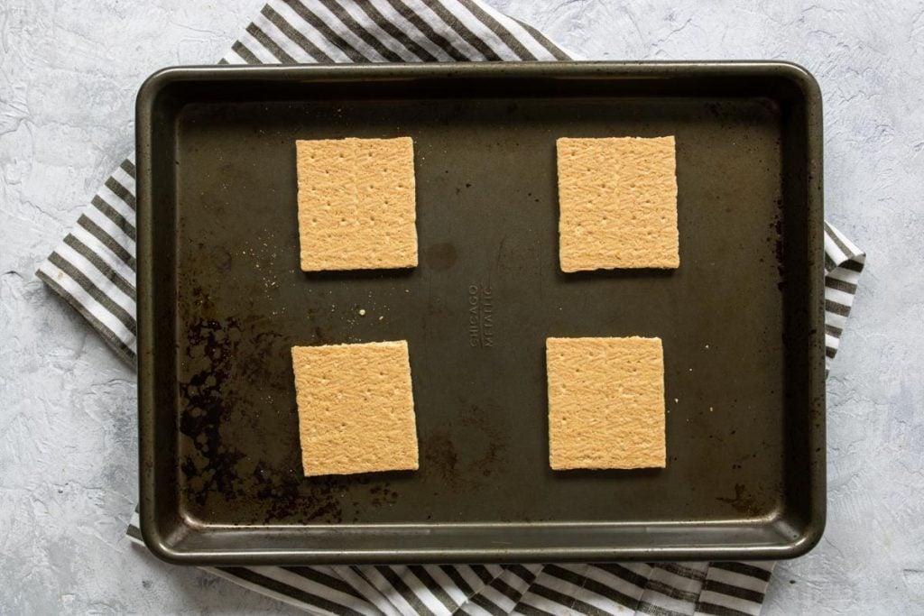graham crackers on baking sheet