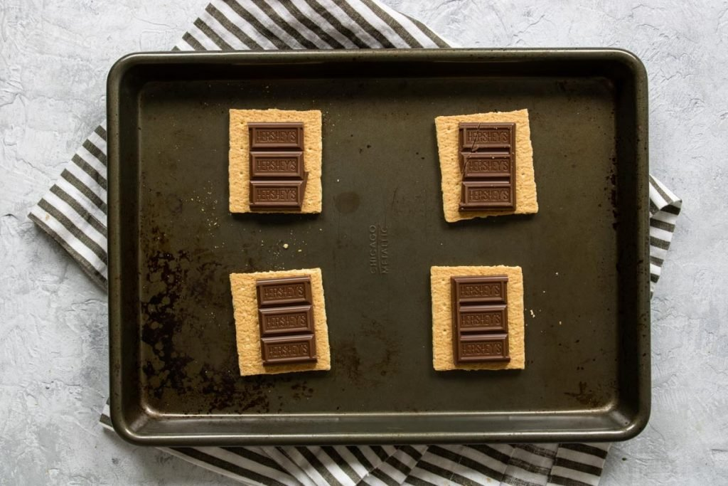 graham crackers topped with hershey bars