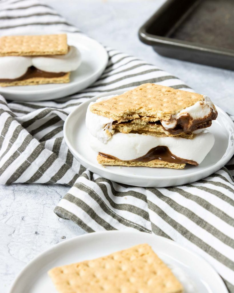 smores on a white plate