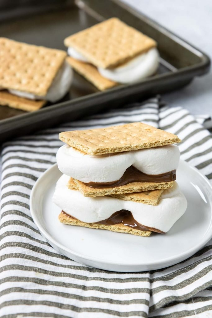 two s'mores stacked on top of eachother
