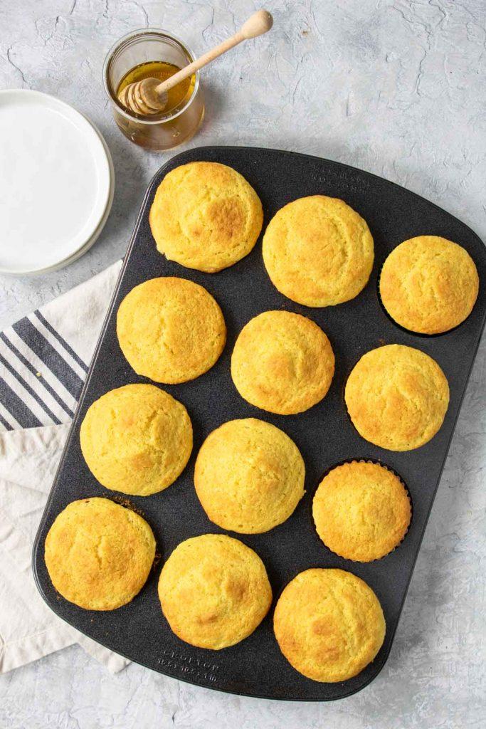 sweet cornbread muffins in a muffin tin