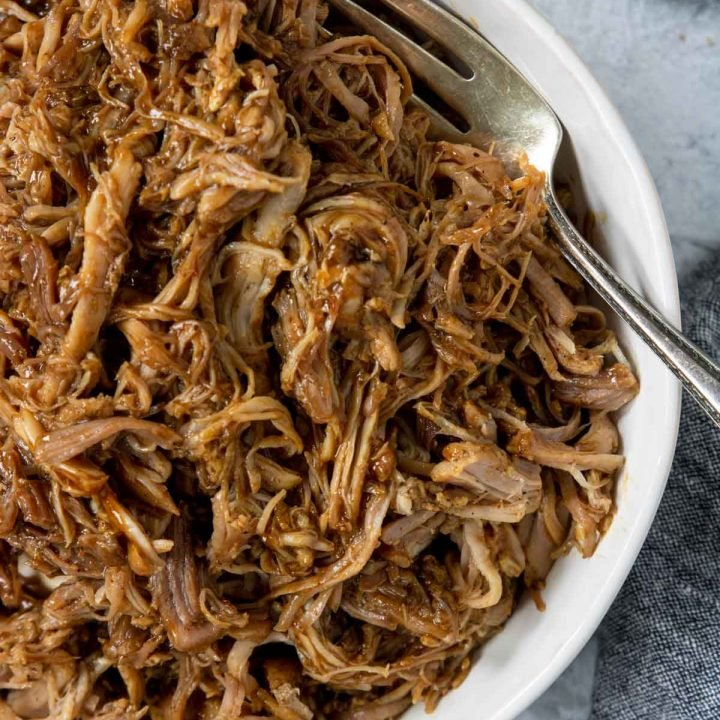 Pulled pork tossed with bbq sauce