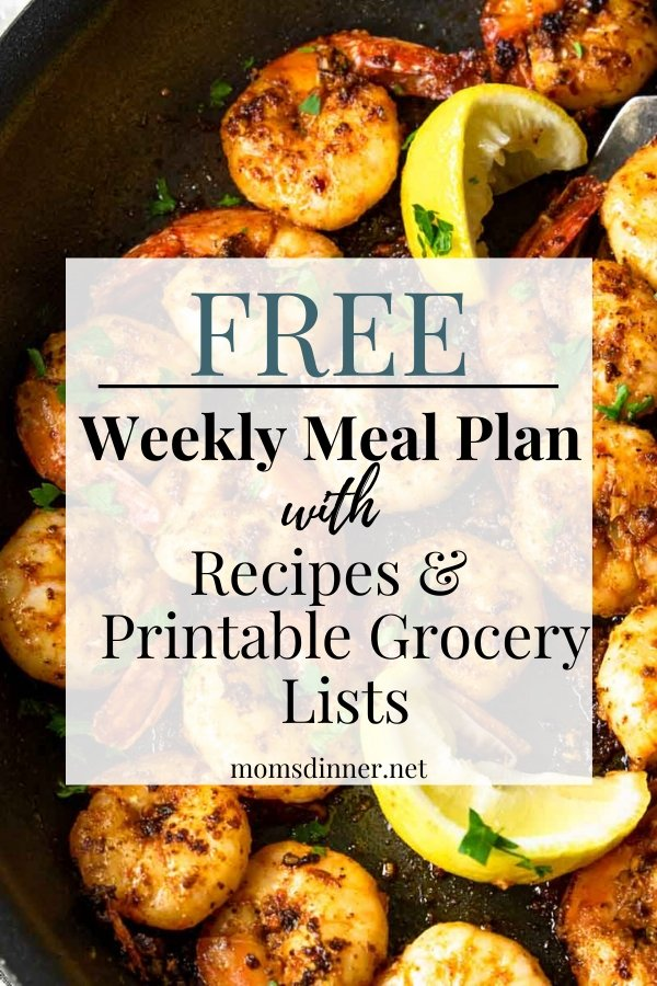 free weekly meal plan with a photo of shrimp in the background