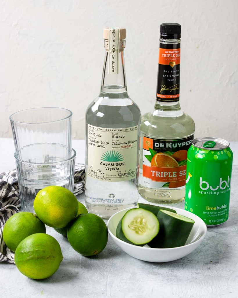 triple sec, tequila, limes, cucumber, lime soda water