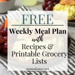egg salad image with text overlay - free weekly meal plan with recipes and free printable grocery list