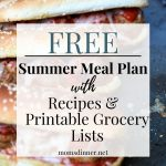 Summer meal plan image with text and a picture of meatball subs
