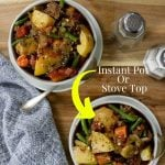 Vegetable soup in a bowl with text for pinterest