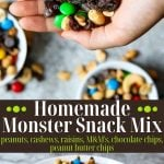 Homemade monster snack mix pin image with text