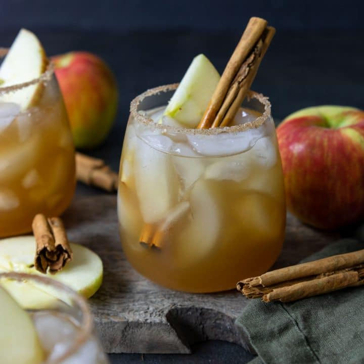 Apple Cider Margarita Cocktail in a glass with apple slice and cinnamon sitcks