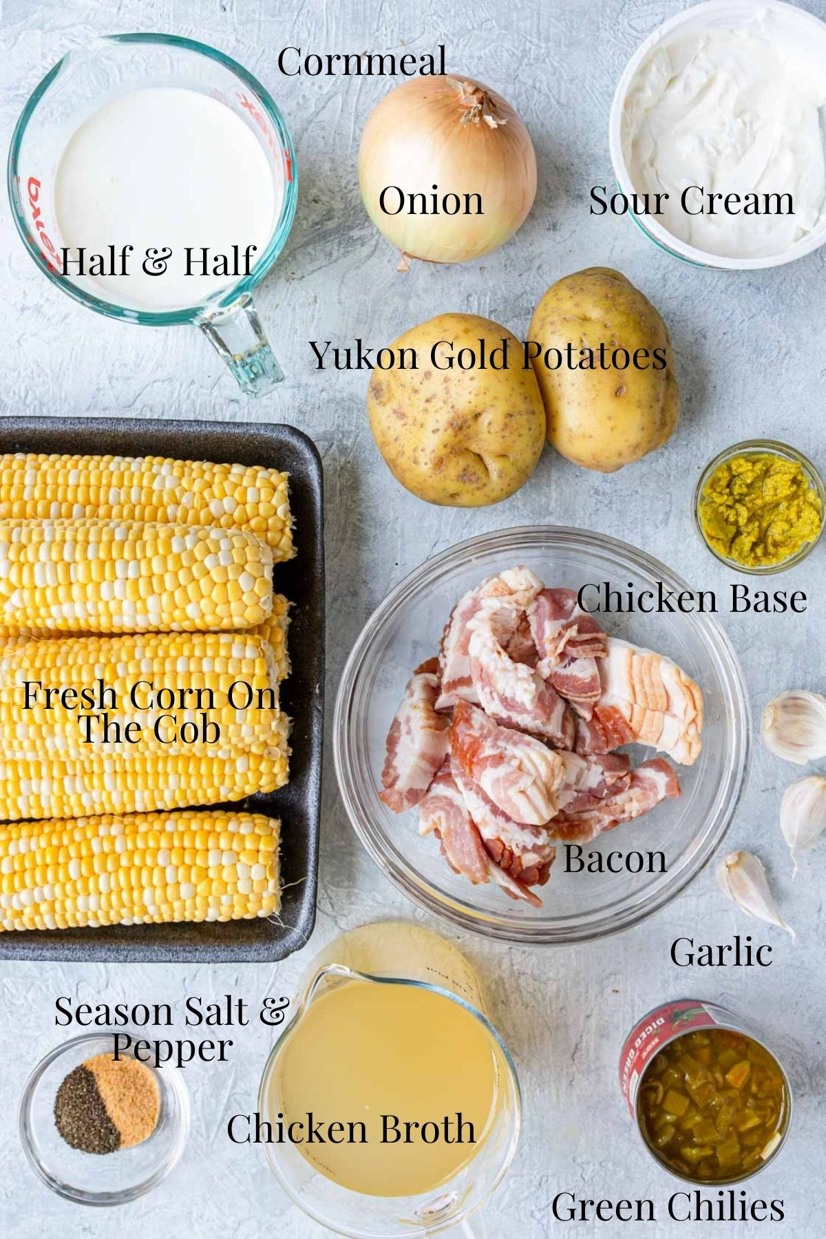 Ingredient list with text for corn chowder