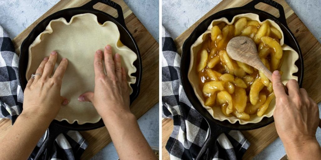 Steps 1-4 making a skillet apple pie