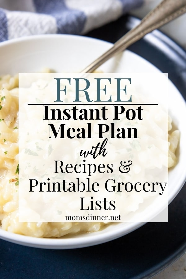 a picture of instant pot risotto with meal plan text overlay