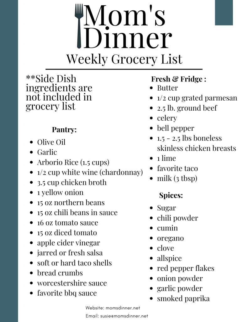 Instant Pot Meal Plan Grocery List