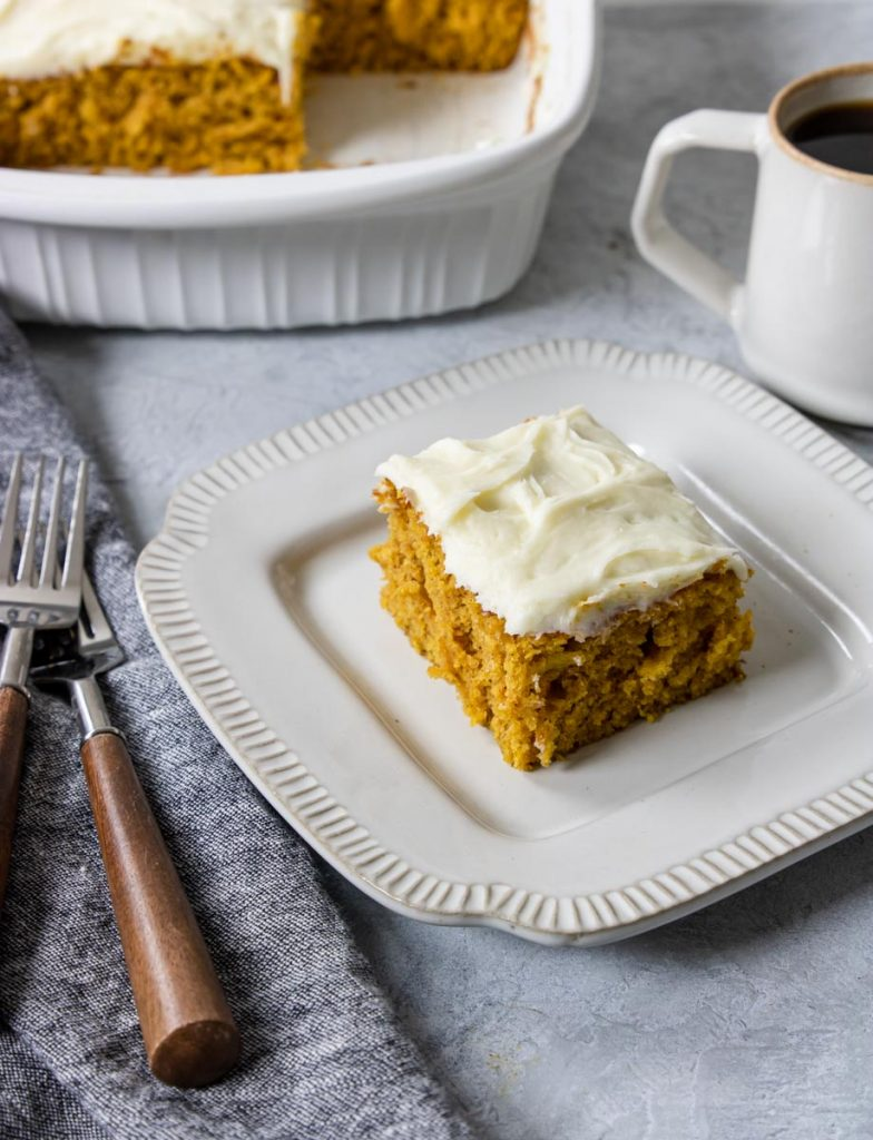Pumpkin Bar on a plate with coffee