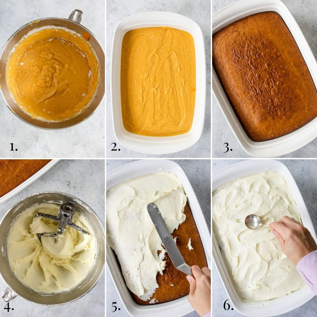 Steps for making pumpkin bars with cream cheese icing, collage, steps 1-6