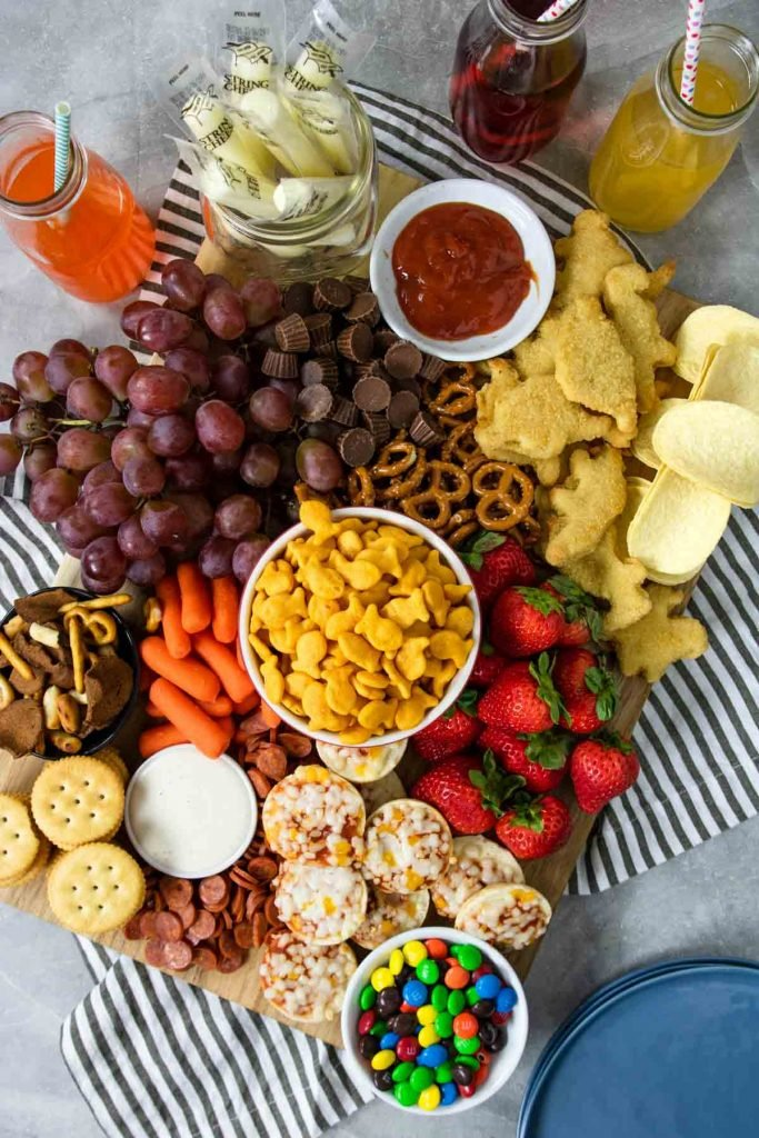 kids charcuterie board filled with kid friendly food