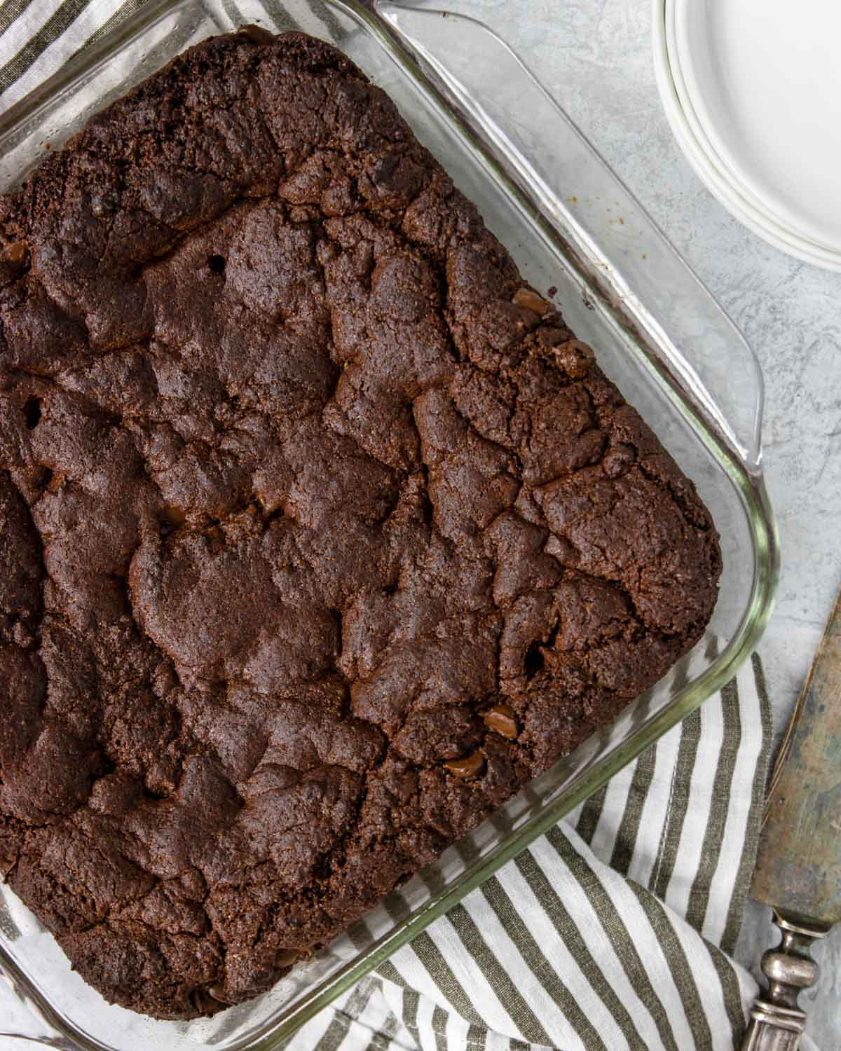 cake mix brownies baked in a 9x9 baking dish