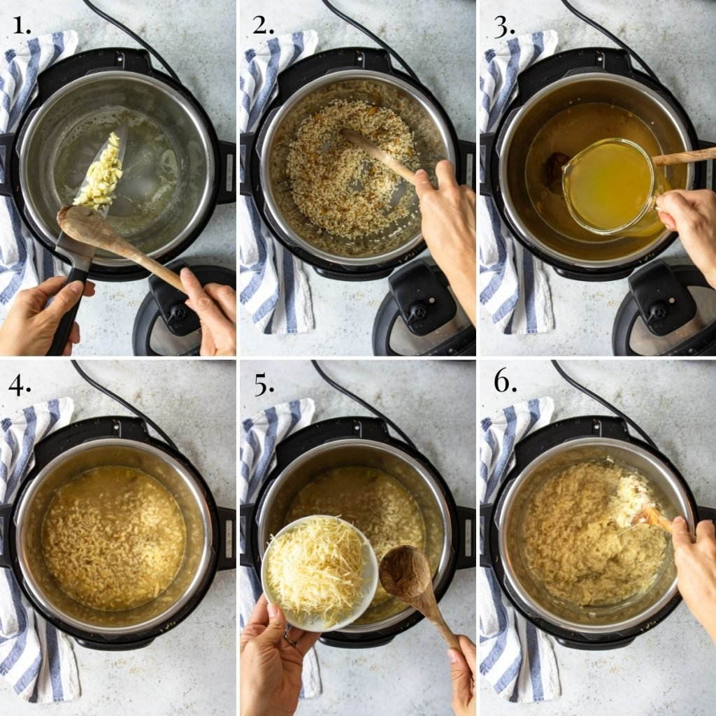 steps for making risotto in the instant pot