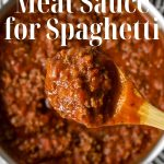 meat sauce for spaghetti text for pinterest