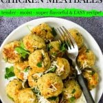 Pinterest image for chicken meatballs with text