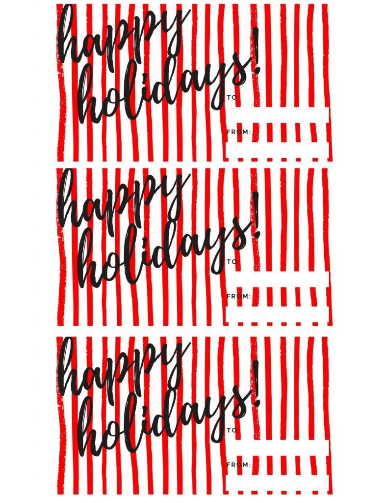 free red and white gift tag printable for Christams Hug Cookies