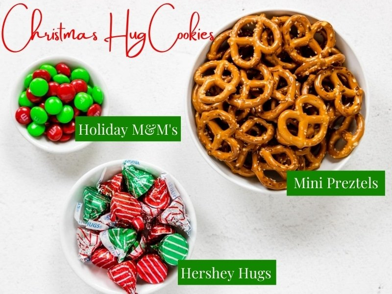 a bowl of pretzels, Hershey hugs, and M&M's all labeled