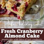 pin image for cranberry cake recipe with text