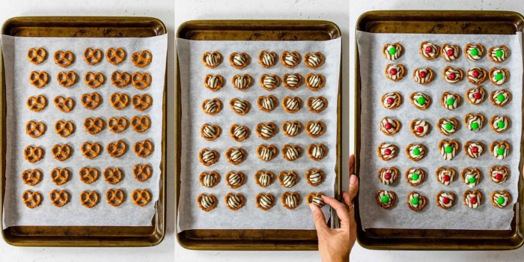 three images showing how to make Christmas Hug Cookies - pretzels, topped with hershey hugs, M&M's pressed into the top