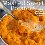 mashed sweet potatoes in a bowl with pinterest text overlay