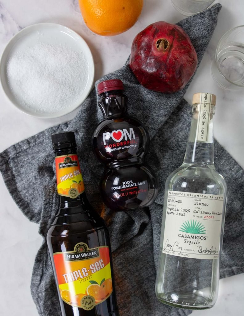 ingredients for a pomegranate margarita