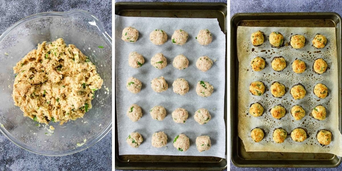 three steps for making ground chicken meatballs - mixture, raw meatballs, and baked