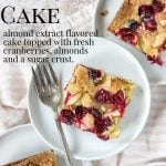 cranberry christmas cake image with pinterest text