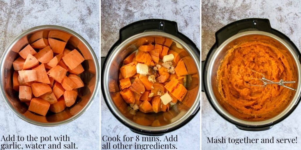three easy steps to make instant pot mashed sweet potatoes - step by step photos