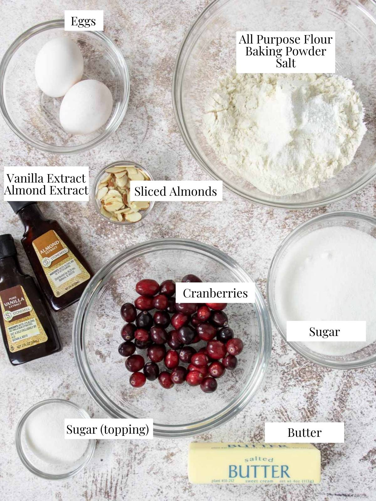 ingredients for cranberry cake on a table with text labels