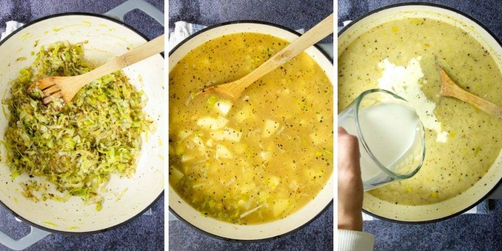 first three steps to make potato leek soup