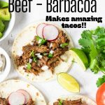 barbacoa beef tacos with pinterest text overlay