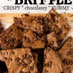 crispy brownie brittle on a cutting board with pinterest text