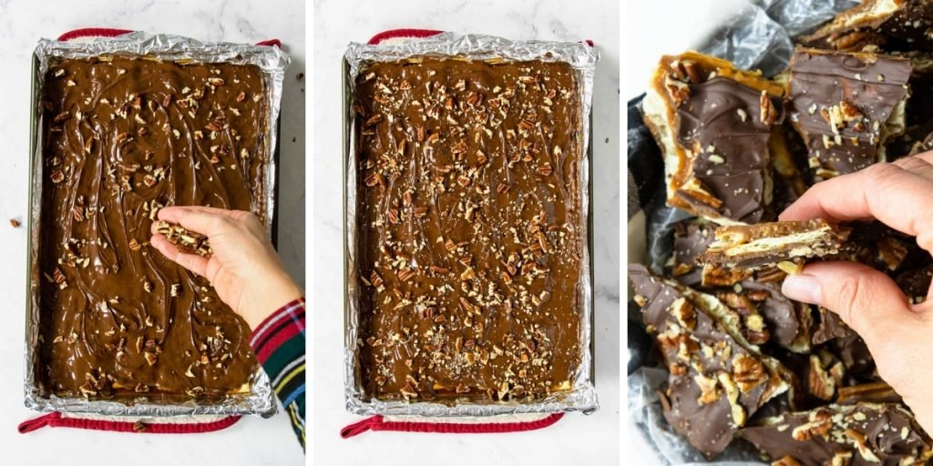 Final steps for making saltine toffee