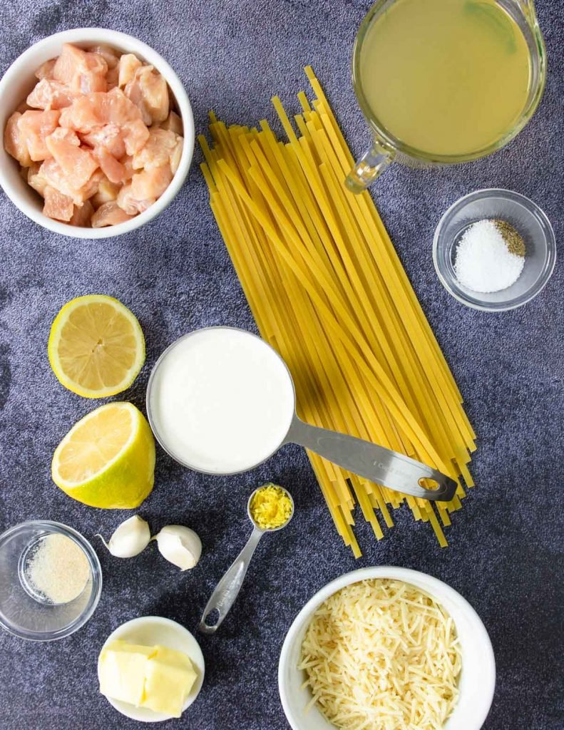 Instant Pot Chicken Alfredo Ingredients on a counter