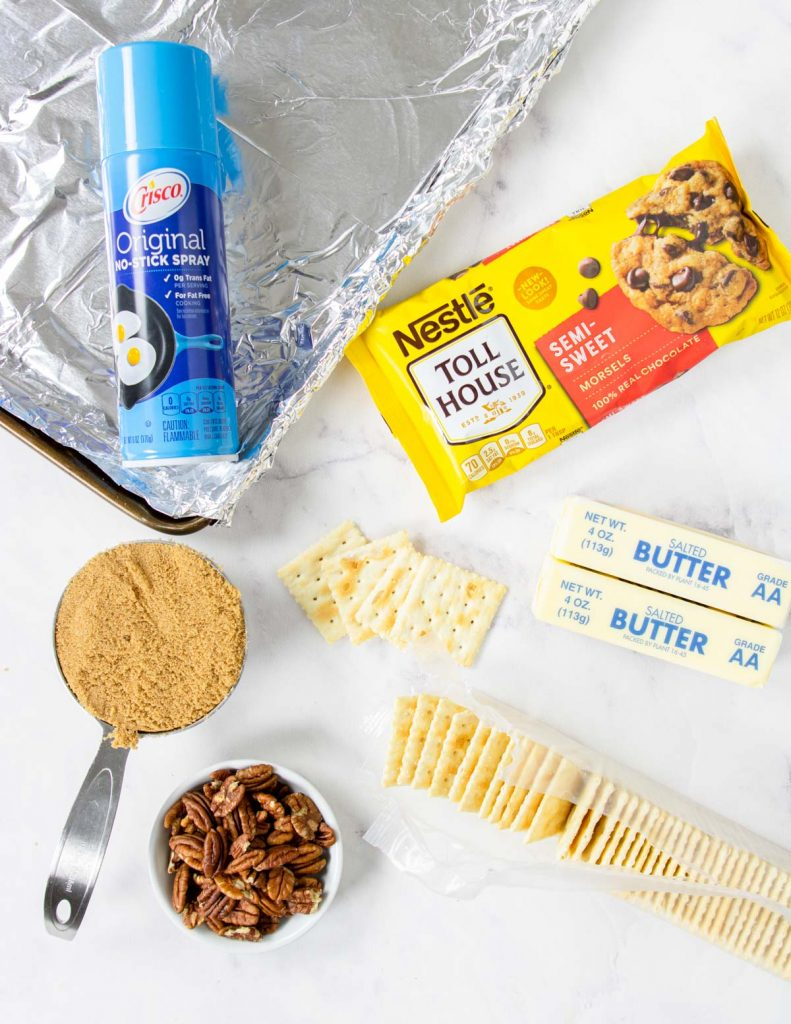 Ingredients to make saltine toffee