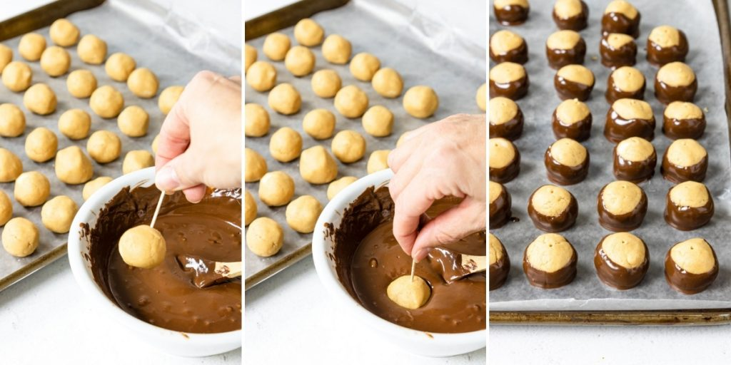 steps showing how to dip the peanut butter balls in chocolate