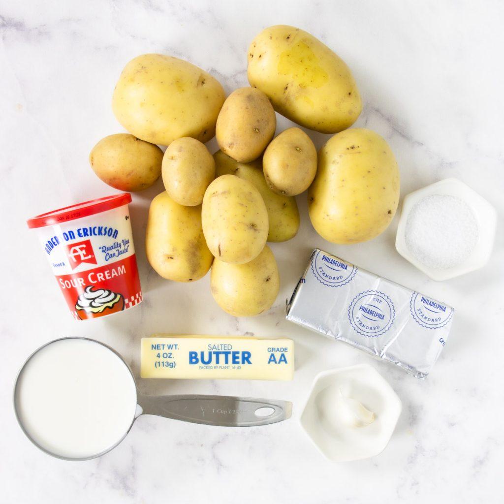 ingredients for perfect yukon gold mashed potatoes