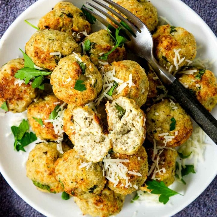 a plate of baked chicken meatballs
